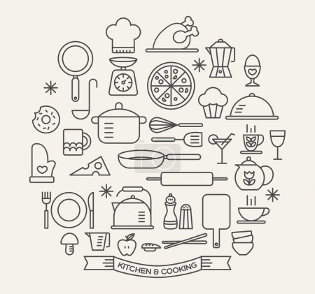 Illustration for Cooking Foods and Kitchen outline icons set - Royalty Free Image