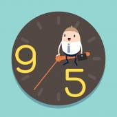 Businessman sitting on hour hand of Clock with 9 to 5 concept