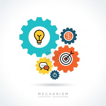 Mechanism Business concept gear icons illustration