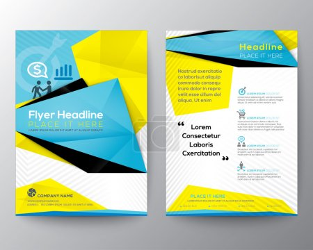 Illustration for Abstract Triangle Geometric Brochure Flyer design Layout vector template in A4 size - Royalty Free Image