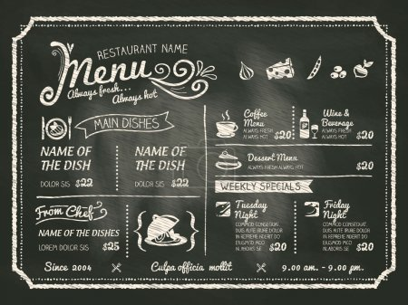 Illustration for Restaurant Food Menu Design with Chalkboard Background - Royalty Free Image