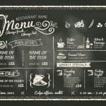 Restaurant Food Menu Design with Chalkboard Backgr...