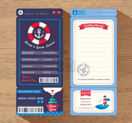 Illustration for Cruise Ship Boarding Pass Ticket Wedding Invitation design Template Vector - Royalty Free Image