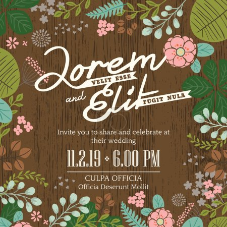 Illustration for Wedding invitation card with cute and colorful foliage vector background - Royalty Free Image