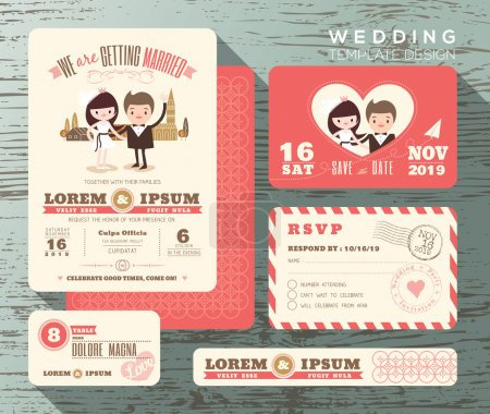 Illustration for Cute groom and bride couple wedding invitation set design Template Vector response card save the date card - Royalty Free Image