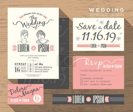 Illustration for Wedding invitation set design Template Vector place card response card save the date card - Royalty Free Image