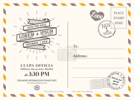Vintage postcard background vector template for wedding invitati
