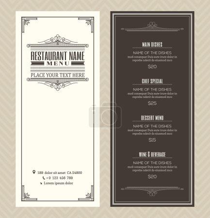 Illustration for Restaurant or cafe menu vector design template with vintage retro art deco frame style - Royalty Free Image