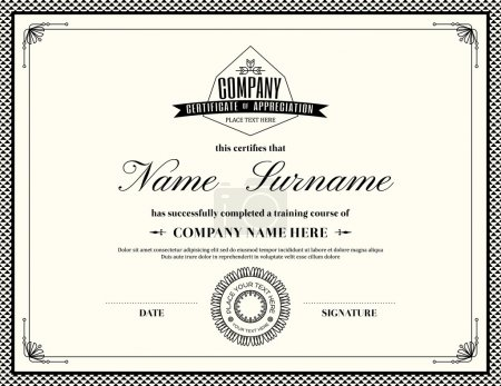 Illustration for Retro frame certificate of appreciation design template - Royalty Free Image