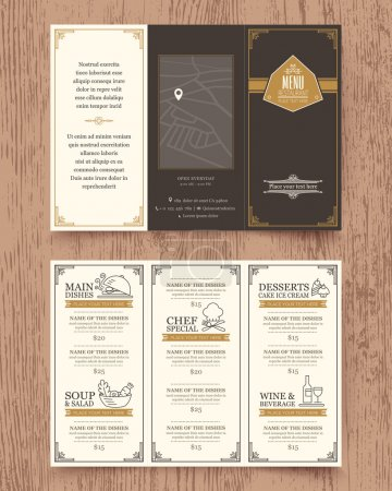 Illustration pour Modèle vectoriel de brochure de conception de menu de restaurant vintage en format A4 Tri pli - image libre de droit