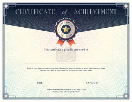 Illustration for Certificate of achievement frame design template - Royalty Free Image