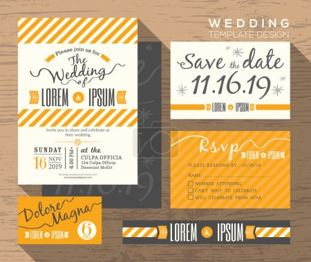 Illustration for Modern yellow stripe theme design wedding invitation set Template Vector place card response card save the date card - Royalty Free Image