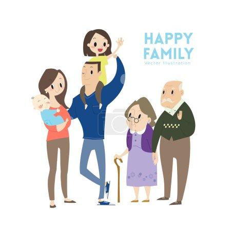 Illustration pour Grande famille heureuse avec des parents enfants et grands-parents illustration vectorielle de dessin animé - image libre de droit
