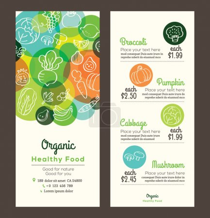 Illustration for Organic healthy food with fruits and vegetables doodles illustration design template for menu flyer leaflet - Royalty Free Image