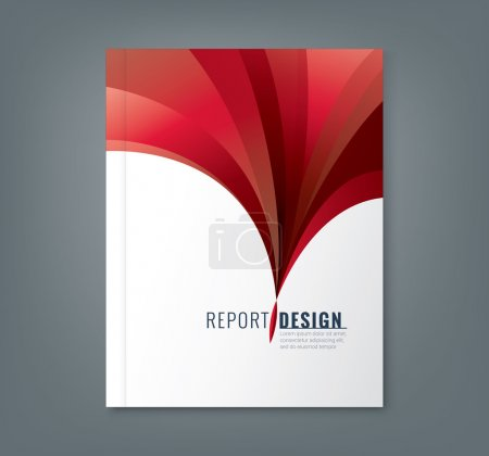 Abstract red wave background for business annual report book cover
