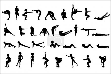 Sports silhouettes of girls