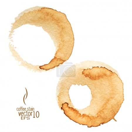 Illustration for Coffee stain watercolor vector. Coffee Stain, Isolated On White Background.  Collection of circle various  coffee stains isolated on white background. - Royalty Free Image