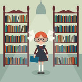 Soviet cartoon schoolgirl in library Soviet schoolgirl in school uniform  Simple flat vector