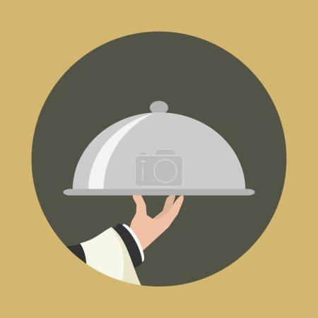 Illustration pour Icône du service alimentaire. Plateau de service alimentaire. Vecteur plat simple . - image libre de droit