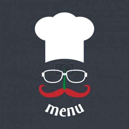 Illustration for Hipster chef hat with mustache and glasses. Foods Service icon. Menu card. Simple flat vector illustration, EPS 10. - Royalty Free Image