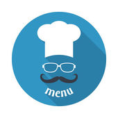 Hipster chef  hat with mustache and glasses