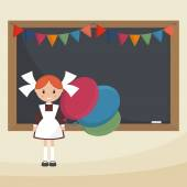 Schoolgirl with balloons