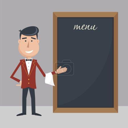 Illustration pour Drôle de serveur de dessin animé avec menu. Illustration vectorielle plate. SPE 10 . - image libre de droit
