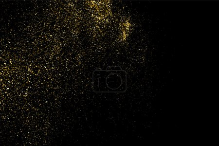 Illustration for Gold glitter texture on a black background. Golden explosion of confetti. Golden grainy abstract  texture on a black  background. Design element. Vector illustration,eps 10. - Royalty Free Image