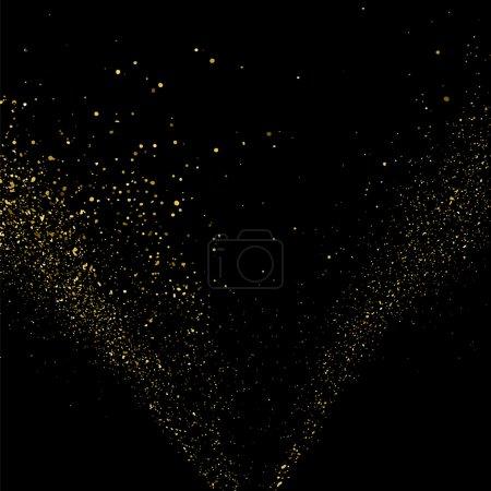 Illustration pour Texture or paillettes sur fond noir. Une explosion dorée de confettis. Texture abstraite granuleuse dorée sur fond noir. Élément design. Illustration vectorielle, eps 10. - image libre de droit