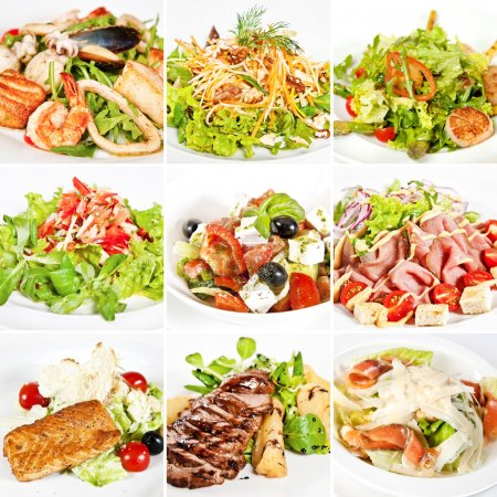 Photo for Various salads collage including warm salads, mix salads, vegetable salad, greek salad and caesar salads - Royalty Free Image
