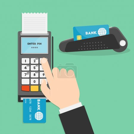 Illustration for Vector illustration of hand and payment terminal. Point of sale terminal. Credit card terminal. POS terminal or a PDQ terminal in flat style. Businessman's hand entering pin code for your design - Royalty Free Image