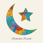 Crescent moon and star for holy month of muslim community Ramadan Kareem