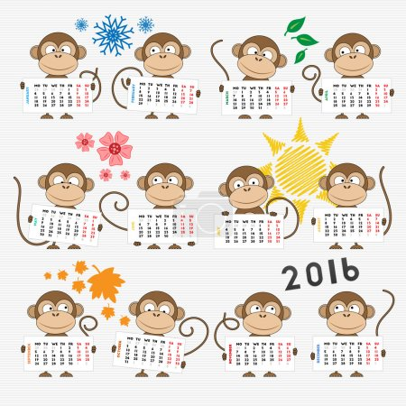 Calendar 2016 with cute monkeys
