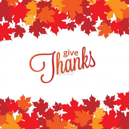 Illustration for Happy Thanksgiving Day background with maple leaves for your design - Royalty Free Image