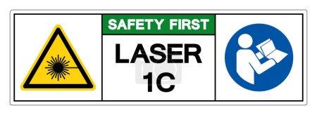Illustration pour Signe de symbole du premier laser 1C de sécurité, illustration vectorielle, isolation sur l'étiquette de fond blanche. PSE10 - image libre de droit