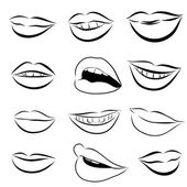 Set of Pop Art Lips on a white background Vector