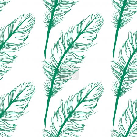 Illustration for Peacock feather seamless pattern on the background. Vector - Royalty Free Image