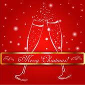 Veselé Vánoce sklenic šampaňského na pozadí