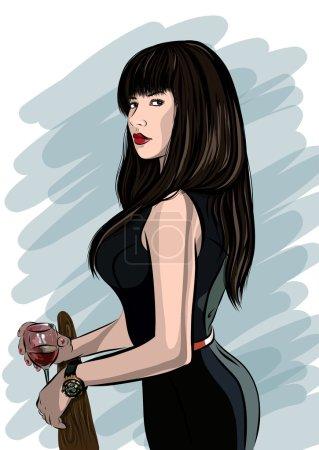 Illustration pour Belle femme visage dessiné à la main vecteur illustration eps 10 - image libre de droit