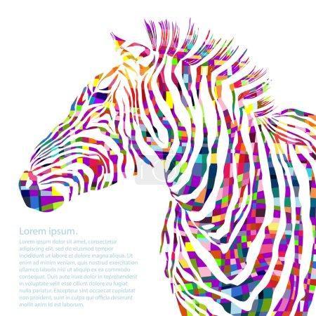 Illustration pour Illustration aquarelle animale silhouette zèbre. Illustration vectorielle - image libre de droit