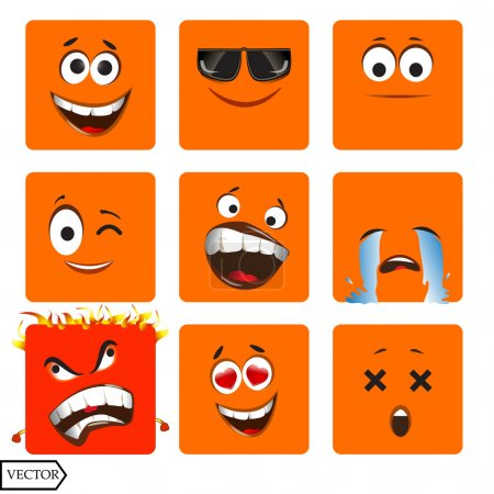 Illustration for Vector illustration set of cool glossy Single Emoticons on a background. EPS - Royalty Free Image