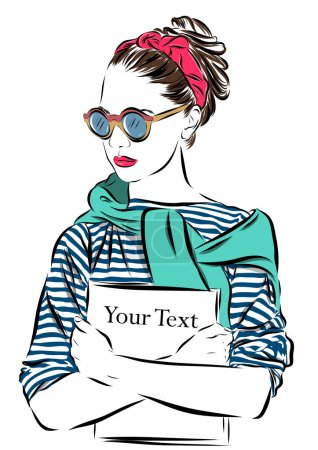 beautiful woman in sunglasses with journal vector illustration eps 10