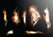 Set of realistic fire flames on transparent background Special effects Vector illustration Translucent elements Transparency grid Vector campfire set Vector EPS