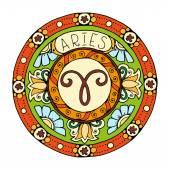 Mandala with aries zodiac sign. Hand drawn tribal mandala horoscope symbol for tattoo art, printed media design, stickers, etc.
