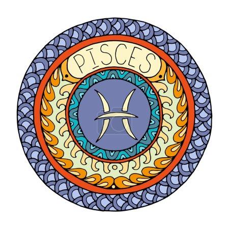 Illustration for Zodiac signs theme. Mandala with pisces zodiac sign. Zentangle inspired mandala. Hand drawn tribal mandala horoscope symbol for tattoo art, printed media design, stickers, etc. - Royalty Free Image