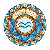 Mandala with aquarius zodiac sign. Hand drawn tribal mandala horoscope symbol for tattoo art, printed media design, stickers.