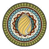 Velikonoční motiv mandaly s doodle vejce. Etnické květinovým vzorem. Slepice