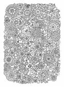 Ethnic floral zentangle doodle background pattern circle in vector Flowers dragonfly and butterfly design tribal design