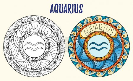 Illustration for Zodiac signs theme. Black and white and colored mandalas with aquarius zodiac sign. Zentangle mandala. Hand drawn mandala zodiac for tattoo art, printed media design, stickers, coloring book pages. - Royalty Free Image