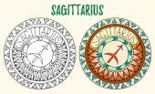 Zodiac signs theme Black and white and colored mandalas with sagittarius zodiac sign Zentangle mandala Hand drawn mandala zodiac for tattoo art printed media design stickers coloring book page